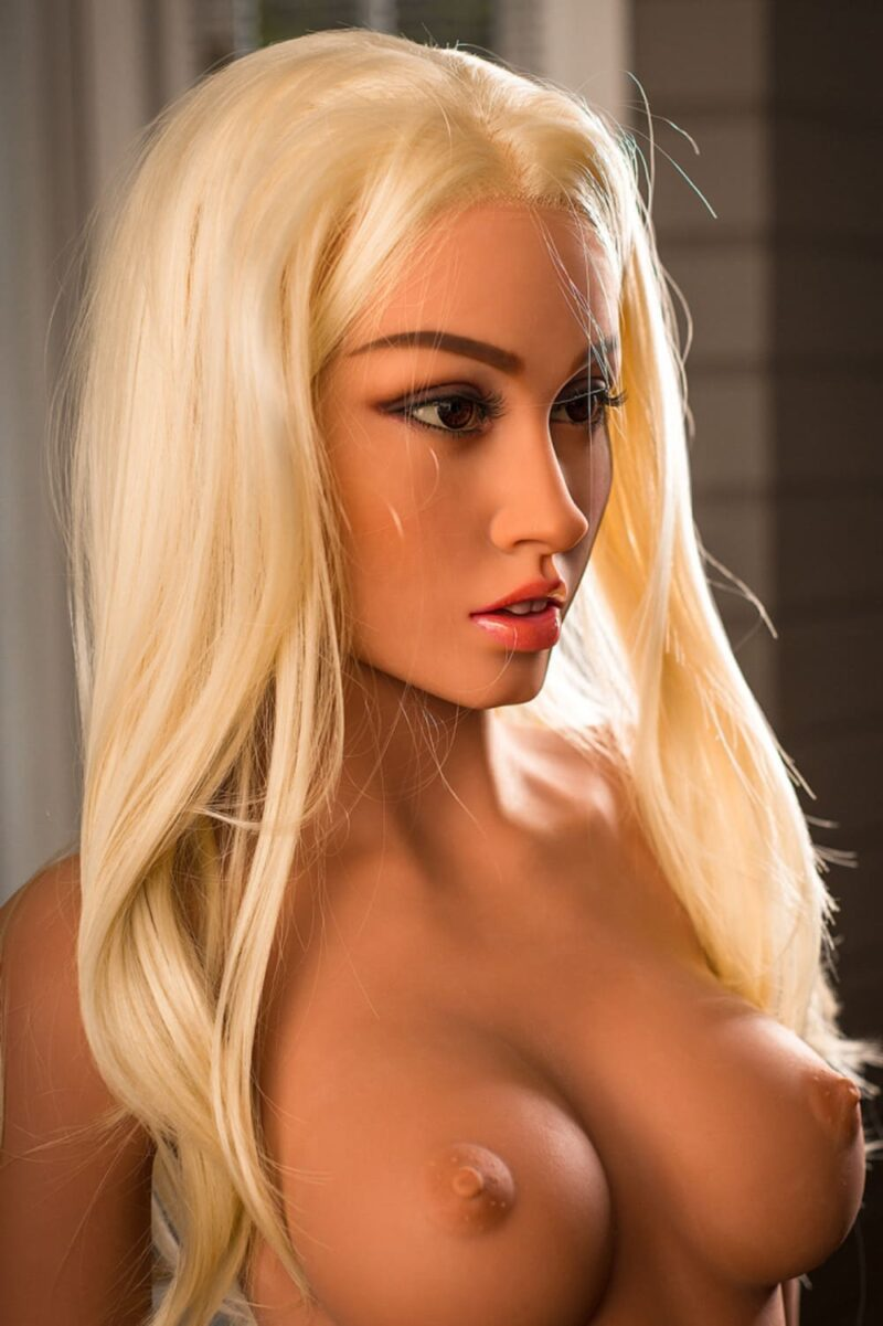 gold hair flat chested sex doll 12